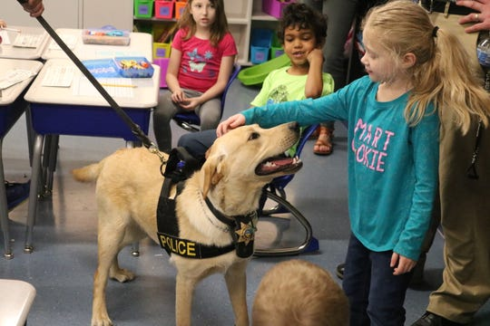 K-9 Kalahan, the newest officer at the Danbury Township Police Department, loved getting to meet with local students at Danbury Local Schools on Tuesday.