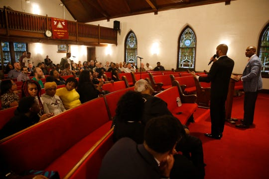 From left, Rev. Edwrin Sutton and William Wagstaff speak during a meeting to discuss the City of Poughkeepsie Police Department's treatment of Jamela Barnett and Julissa Dawkins at Smith Metropolitan AME Zion Church on April 23, 2019.