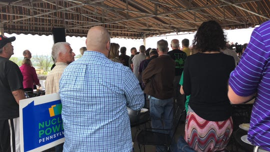 Community members show support at a rally for Three Mile Island, which is due to shut down June 1 if alternative energy credit legislation is not passed.  Sunset Golf Club, in Londonderry Township, Tuesday, April 23. (Photo by: Lindsay C. VanAsdalan)