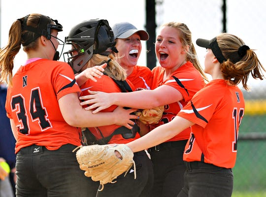 Northeastern celebrates a 3-2 win over Central York during softball action at Central York High School in Springettsbury Township, Wednesday, April 24, 2019. Dawn J. Sagert photo