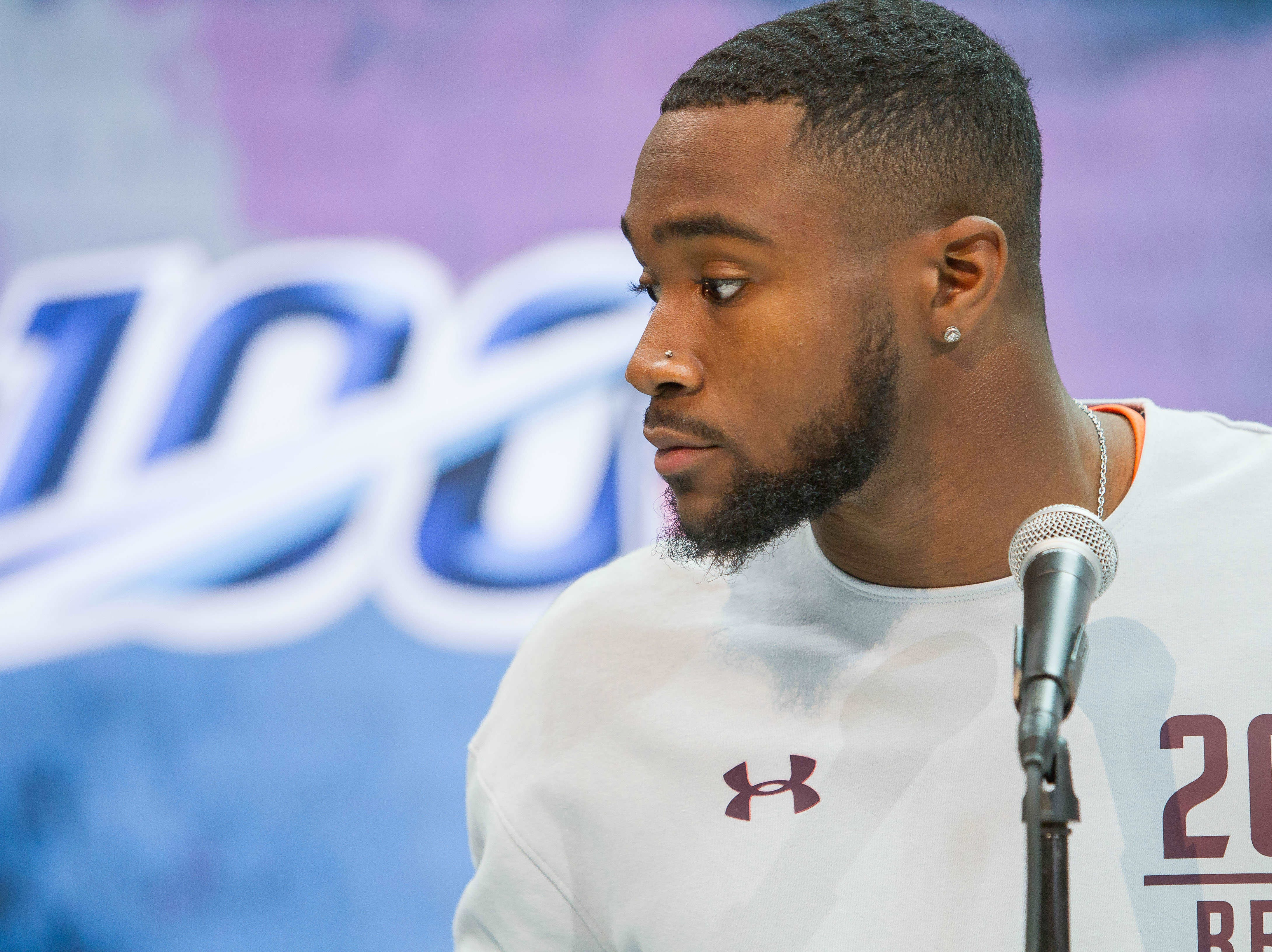 Feb 28, 2019; Indianapolis, IN, USA; Penn State running back Miles Sanders (RB20)  speaks to media during the 2019 NFL Combine at Indianapolis Convention Center. Mandatory Credit: Trevor Ruszkowski-USA TODAY Sports