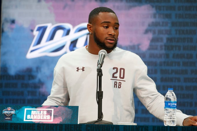 Feb 28, 2019; Indianapolis, IN, USA; Penn State running back Miles Sanders (RB20) speaks to the media during the 2019 NFL Combine at the Indianapolis Convention Center. Mandatory Credit: Brian Spurlock-USA TODAY Sports
