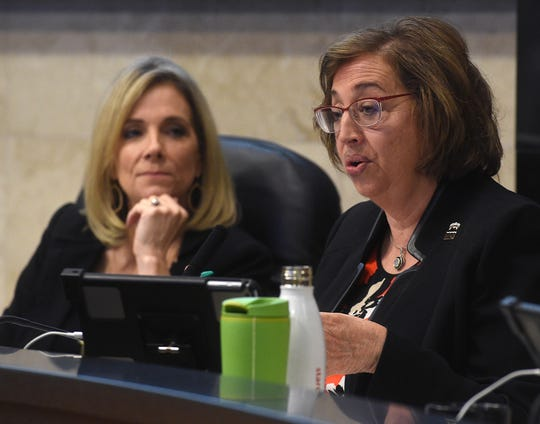 Councilwoman Naomi Duerr, right, speaks as the Reno City Council votes on strip club regulations during their meeting on April 24, 2019. Councilwoman Neoma Jardon is seen on the left.