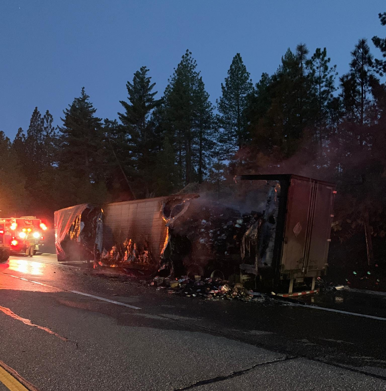 Westbound I80 closed at Gold Run after semi catches fire, spills 30,000 pounds of TV dinners