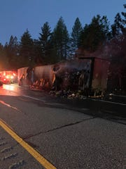 A semi caught fire in the early morning hours of Wednesday, April 24 on westbound Interstate 80 near Gold Run, causing a closure of the road and a 30,000-pound spill of frozen dinners.