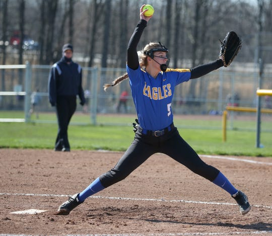 Irondequoit starting pitcher Amanda Northup fires in a pitch in the first inning.
