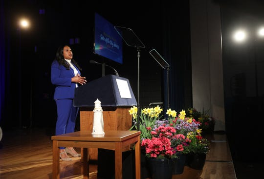 Mayor Lovely Warren makes her State of the City address from the gym at School 17.