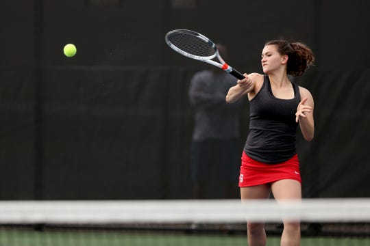 South Salem's Abby Fedor competes in a girl's high school tennis dual meet vs. West Salem at the Salem Tennis and Swim Club on April 23, 2019.