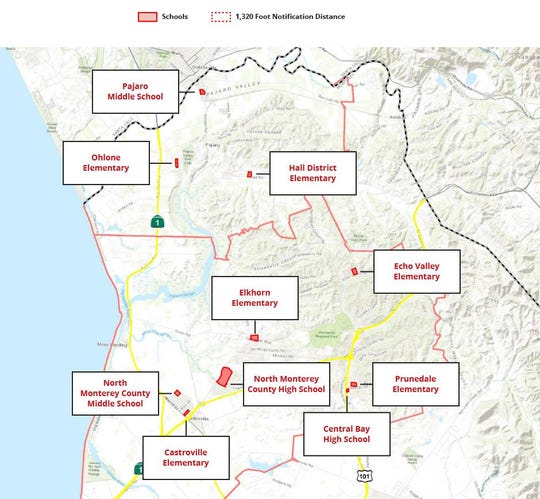 Schools included in the Monterey County Agricultural Commissioner's Office pesticide pilot project.