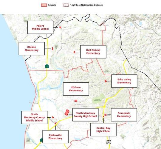 captura Escuelas incluidas en el proyecto piloto sobre pesticidas de la oficina del comisionado agrícola del condado de Monterey.