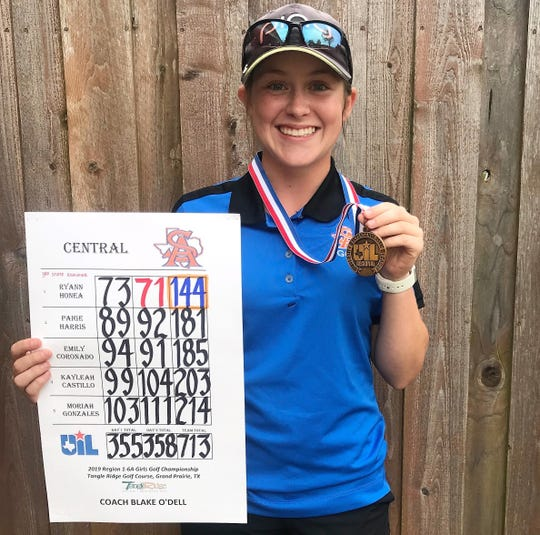 San Angelo Central freshman Ryann Honea finished third at the Region I-6A Tournament in Grand Prairie and qualified for the 2019 state tournament.