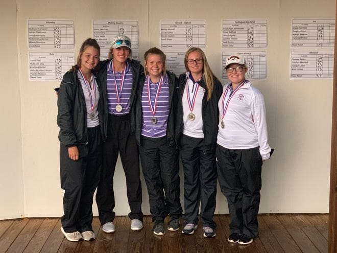 The Sterling City girls golf team of Kiely Johnson, Dally Coulter, Kinzee Wood, Kateland Karnes and Scarlot Longoria took second behind Robert Lee at the Region II-1A Tournament in San Angelo.