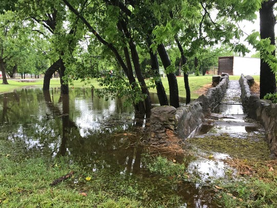 A typically dry area became an overnight pond at Ballinger City Park on Wednesday, April 24, 2019, after thunderstorms moved through the area.