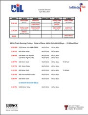 Friday's schedule of events for the Region I-4A Track and Field Championships at Lowrey Field in Lubbock.