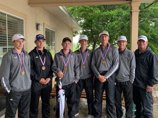 The Sterling City boys golf team of Cross Knittel, Jace Clark, Wyatt Sisco, Jarett Justiss and Quinton McMullan finished third at the Region II-1A Tournament and advanced to state.