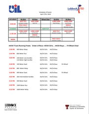 Saturday's schedule of events for the Region I-4A Track and Field Championships at Lowrey Field in Lubbock.
