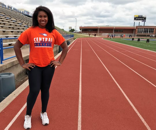 San Angelo Central's Layla Young is qualified to the Region I-6A Track and Field Meet in the shot put.