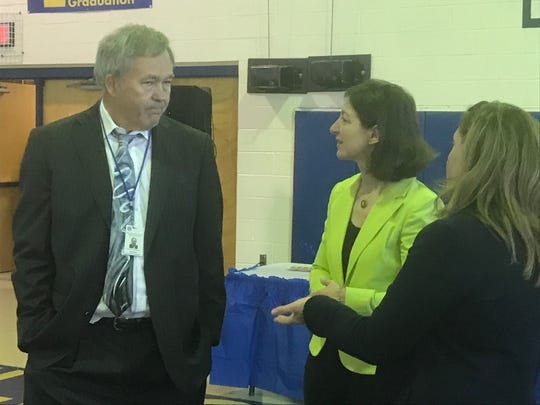 Eddie Lawrence, Northampton County Public Schools Superintendent, chats with Rep. Elaine Luria before the Eggs and Issues breakfast in Eastville, Virginia on Tuesday, April 23, 2019.
