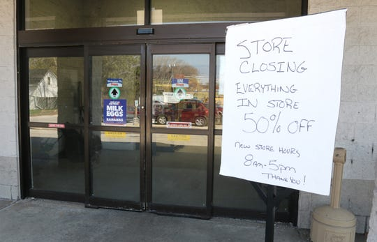 A sign outside the Save-A-Lot store, Wednesday, April 24, 2019, in Sheboygan, Wis. The store announced it will close as soon as inventory is sold.