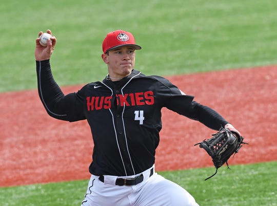 St. Cloud State senior pitcher Dominic Austing is the school's all-time strikeouts record and has a 7-0 record this season. The Huskies open the NSIC tournament at 6:30 p.m. Wednesday at Dick Putz Field.