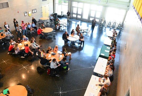 People gather for the Sauk Rapids Senior Signing Day ceremony Wednesday, April 24, at Sauk Rapids-Rice High School.