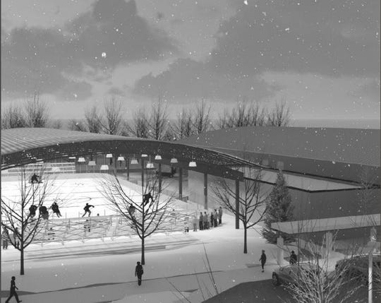 A drawing shows plans for an open-air hockey rink and athletic complex near Bernick's Arena in Sartell.