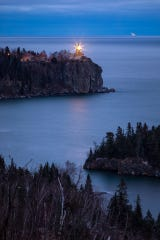 "David Barthel's photo ""Guardian of Superior"" captures Split Rock Lighthouse in Two Harbors and a ship."