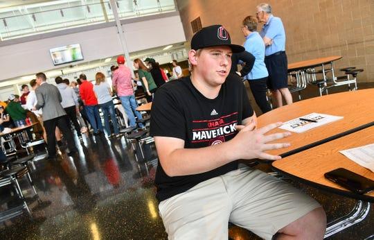 Brady Posch talks about his plans following the Sauk Rapids Senior Signing Day ceremony Wednesday, April 24, at Sauk Rapids-Rice High School.