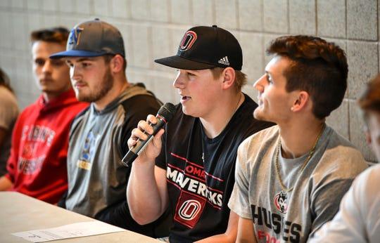 Brady Posch introduces himself during the Sauk Rapids Senior Signing Day ceremony Wednesday, April 24, at Sauk Rapids-Rice High School. Posch plans to play baseball for the University of Nebraska-Omaha.