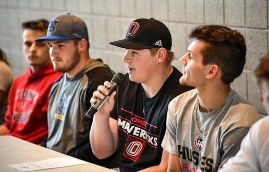 Brady Posch introduces himself during the Sauk Rapids Senior Signing Day ceremony Wednesday, April 24, at Sauk Rapids-Rice High School. Posch plans to play baseball for the University of Nebraska-Omaha.