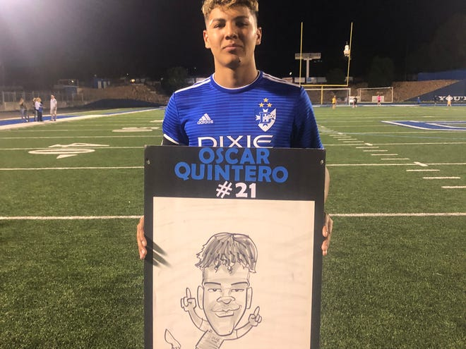 Oscar Quintero poses with his caricature following his scoring performance in a 3-1 win over Snow Canyon.