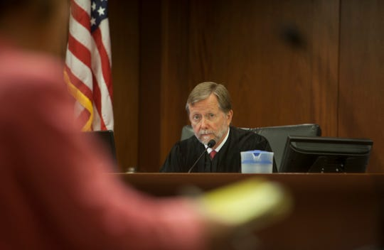 Judge G. Michael Westfall during the sentencing hearing for Martin Ryan Farnsworth Wednesday, April 24, 2019.