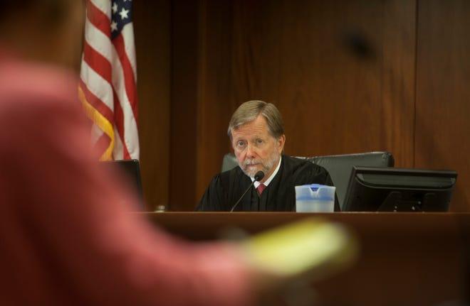Judge G. Michael Westfall during the sentencing hearing for Martin Ryan Farnsworth Wednesday, April 24, 2019.