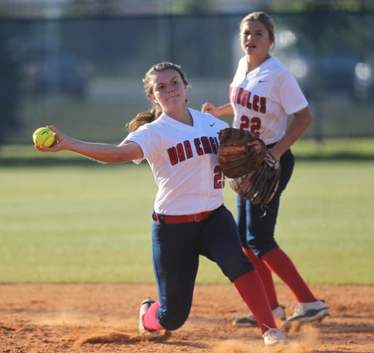 Wakulla shortstop Brandie Seber makes a throw to first as Wakulla beat Franklin County 9-0 on April 23, 2019.