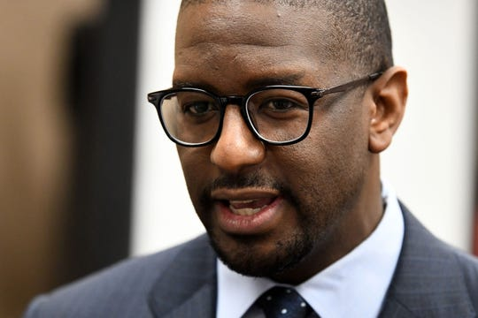 Former Mayor Andrew Gillum addresses the media's question after it was announced that he settled in his case with the Florida Commission on Ethics Wednesday, April 24, 2019.