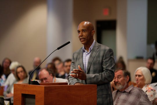 Timothy Bryant, external affairs and new development employee of NextEra Florida, answers questions from the Tallahassee City Commission during a meeting at City Hall Wednesday, April 24, 2019.
