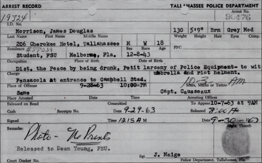 The Tallahassee Police Depart arrest record for Jim Morrison from 1963.