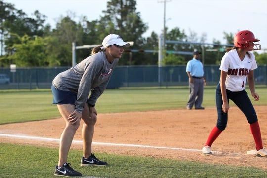 Wakulla softball coach Sally Wheeler watches as Wakulla beat Franklin County 9-0 on April 23, 2019.