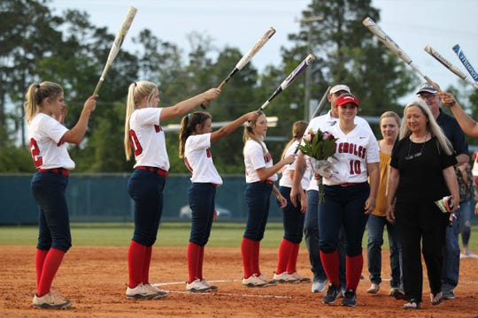 Wakulla senior Emery Mayne is recognized on Senior Night after Wakulla beat Franklin County 9-0 on April 23, 2019.