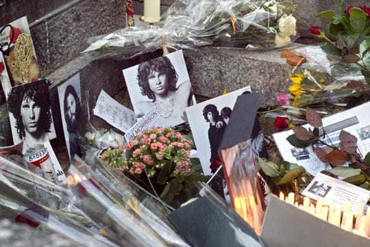 The grave of Jim Morrison at Pere Lachaise cemetery in Paris shown on  Dec. 8, 2003.
