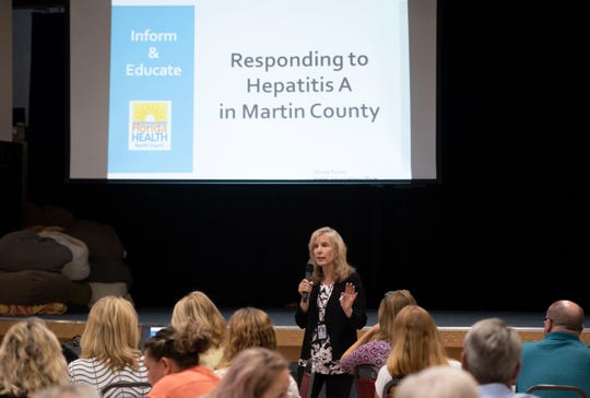 "Renay Rouse, spokeswoman for the Martin County Department of Health, hosts a conversation about hepatitis A with community members and representatives from local organizations Wednesday, April 24, 2019, during the quarterly United Way of Martin County Community Conversations event at First United Methodist Church in Stuart. In Martin County, there have been 19 confirmed cases and three deaths from hepatitis A, with no new cases reported since April 8. ""We're here, we live here, our children go to school here,"" Rouse said. ""We're doing everything we can to come to a resolution."" Rouse encouraged community members to get vaccinated, noting the health department vaccinated 920 people between April 15-19."