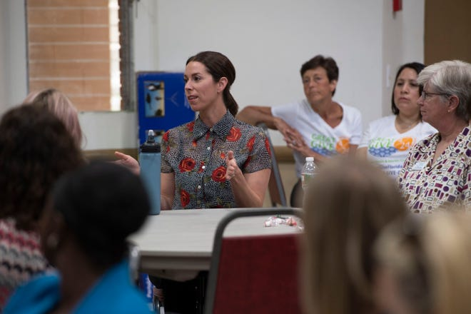 "Kim Ouellette, case manager with Volunteers in Medicine Clinic, speaks during a conversation about hepatitis A with community members and representatives from local organizations Wednesday, April 24, 2019, during the quarterly United Way of Martin County Community Conversations event at First United Methodist Church in Stuart. In Martin County, there have been 19 confirmed cases and three deaths from hepatitis A, with no new cases reported since April 8. ""We're here, we live here, our children go to school here,"" Rouse said. ""We're doing everything we can to come to a resolution."" Rouse encouraged community members to get vaccinated, noting the health department vaccinated 920 people between April 15-19."