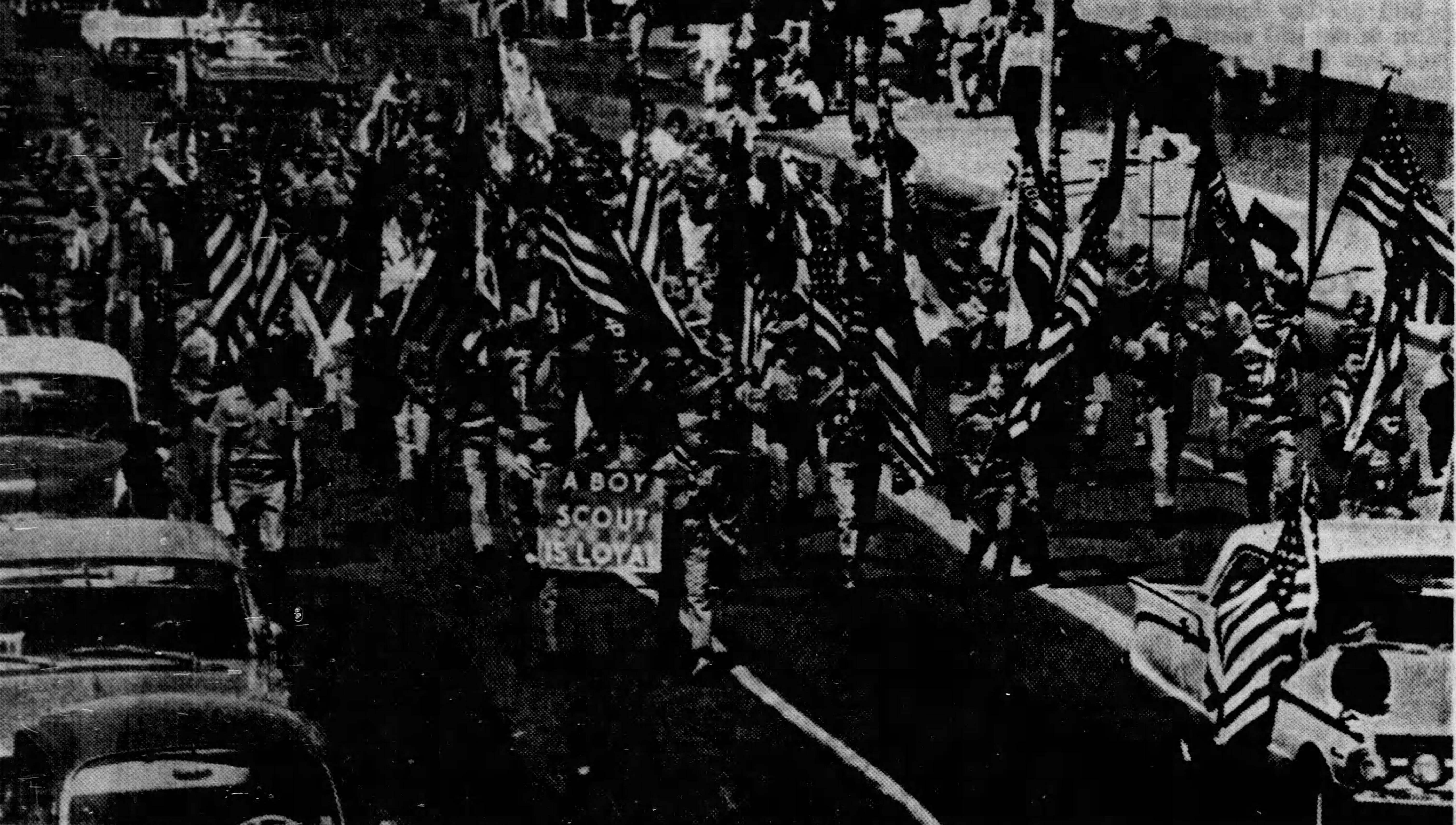 1967 Loyalty Day Parade - A Scout is loyal and he shows it bymarching in the El Paso Loyalty Day Parade.