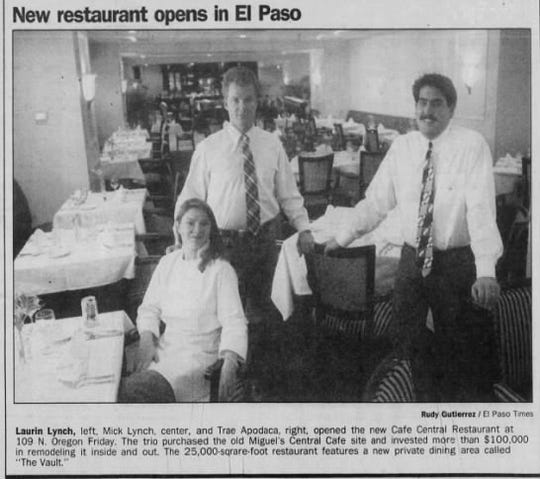 A photo in the El Paso Times announced the opening of the new Cafe Central restaurant in Downtown El Paso in 1991.