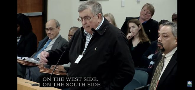 Nord Sorensen, president and CEO of MedCare Environmental Solutions, at a TCEQ hearing in Austin.
