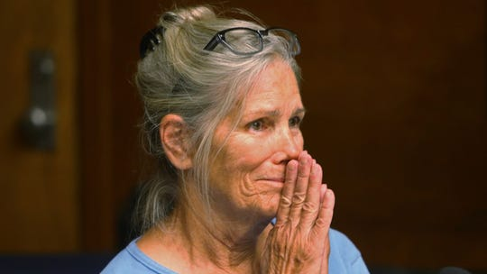 In this 2017 file photo, Leslie Van Houten reacts after hearing she is eligible for parole during a hearing at the California Institution for Women in Corona. Her attorney argued that she deserves to be paroled at a hearing Wednesday.
