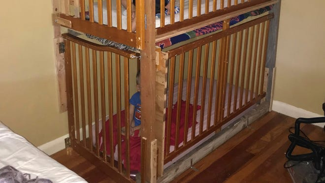 This photo from the Modoc County Sheriff's Office shows where deputies found two boys in cages in a Tulelake home. Authorities in Northern California say the parents have been arrested on suspicion of child endangerment.
