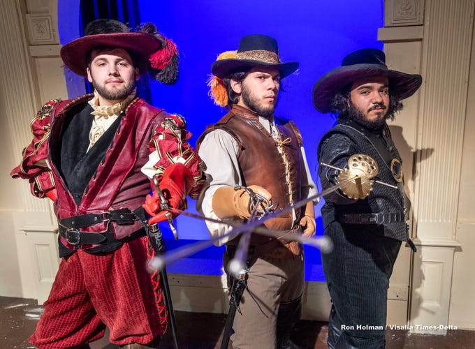 R.L. Preheim, left, Mason Garcia and Andrew Martinez rehearse for College of the Sequoias production of Three Musketeers on Tuesday, April 23, 2019.