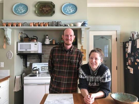 Gerrid and Sadie Franke in their kitchen in March 2019. The live on Half Moon Hill Farm & Winery and run the winery, where they make mead, out of their basement and grounds.