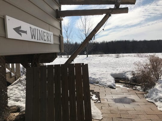 A pathway on Half Moon Hill Farm & Winery in Hamburg is still covered in snow in March 2019.
